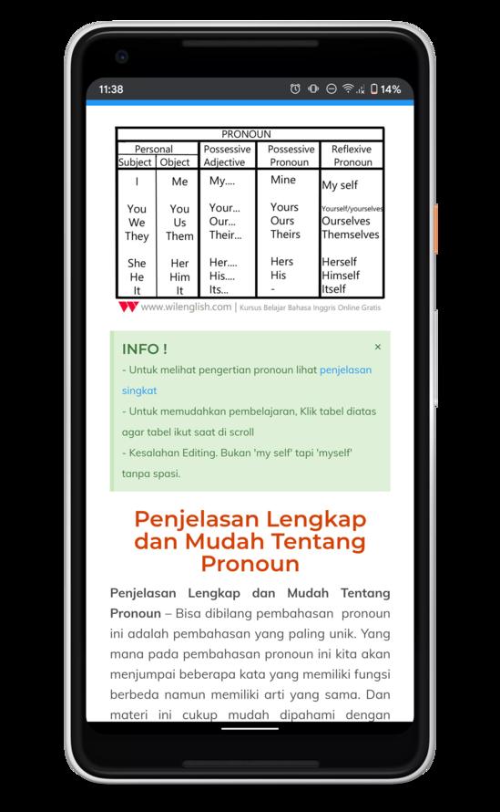 Belajar part of speech mulai dari pronoun